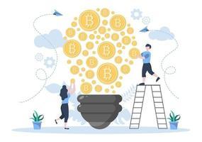 design plat illustration crypto-monnaie avec les mineurs de l'homme d'affaires et les pièces de monnaie. pour la technologie financière, la blockchain et l'analyse de données. vecteur