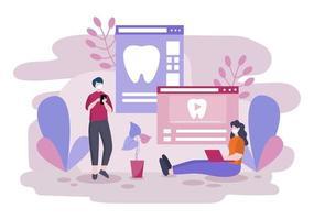 illustration de couleur plate de cabinet dentaire. Intérieur de l'hôpital avec lieu de travail, équipement, instruments, consultation, traitement et diagnostic
