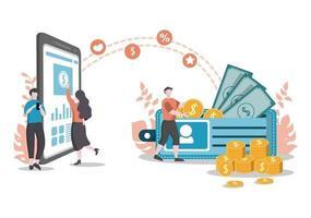 illustration plate des investissements pour la solution commerciale de bannière, analyse de page Web des ventes, statistiques de croissance des données, comptabilité, idées innovantes et concept de bénéfices en espèces vecteur