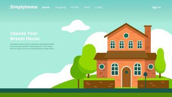 En-tête Web de la société immobilière vecteur