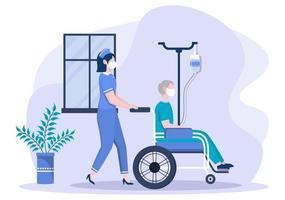 médecin ou infirmière en masque facial aidant avec un patient, l'infirmière pousse le fauteuil roulant avec un homme handicapé. concentration de personnel médical vecteur