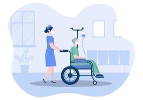 médecin ou infirmière en masque facial aidant avec un patient, l'infirmière pousse le fauteuil roulant avec un homme handicapé. concentration de personnel médical