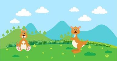 kangourou vecteur animaux mignons en style cartoon, animal sauvage, dessins pour vêtements de bébé. personnages dessinés à la main