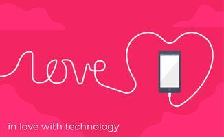 En amour avec l'illustration de la technologie vecteur