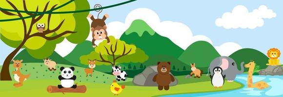 Vector animaux de la jungle mignons en style cartoon, animal sauvage, dessins de zoo pour le fond, vêtements de bébé. personnages dessinés à la main