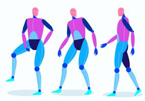 Robot Posé Mannequin Modèle Vector Illustration
