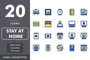 rester à la maison pack d'icônes isolé sur fond blanc. pour la conception de votre site Web, logo, application, interface utilisateur. illustration graphique vectorielle et trait modifiable. eps 10. vecteur