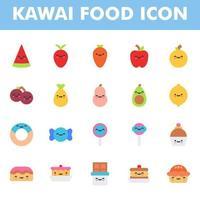 pack d'icônes de nourriture kawai isolé sur fond blanc. kawai et illustration de nourriture mignonne. pour la conception de votre site Web, logo, application, interface utilisateur. illustration graphique vectorielle et trait modifiable. eps 10. vecteur