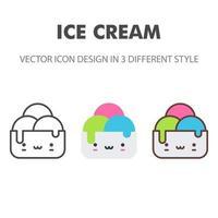 icône de la crème glacée. kawai et illustration de nourriture mignonne. pour la conception de votre site Web, logo, application, interface utilisateur. illustration graphique vectorielle et trait modifiable. eps 10.