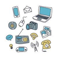 Doodles de technologie bleu et jaune vecteur