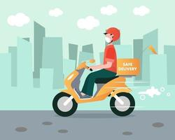 conducteur de cyclomoteur de livraison en toute sécurité vecteur