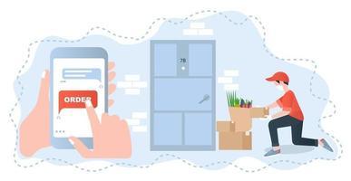 illustration avec concept de livraison sans contact pour la conception web vecteur