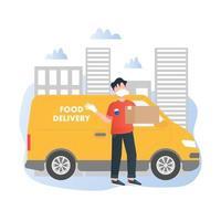 livreur avec un concept d & # 39; illustration vectorielle camion en style cartoon vecteur