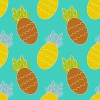 modèle sans couture de vecteur lumineux d'ananas, fruits juteux, couleurs riches