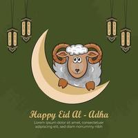 Cartes de voeux eid al-adha avec moutons dessinés à la main sur fond vert. vecteur