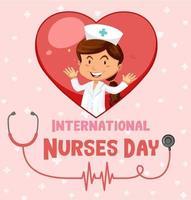 bonne police de la journée internationale des infirmières avec personnage de dessin animé infirmière vecteur