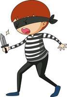 un personnage de dessin animé de voleur doodle isolé vecteur