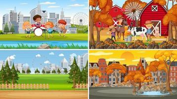 ensemble de style de dessin animé de différentes scènes de la nature