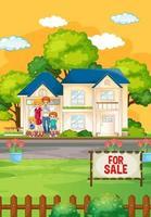 scène en plein air avec famille debout devant une maison à vendre vecteur