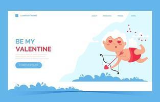 page de destination ange amour cupidon saint valentin. mignon garçon ou fille cupidon. ange volant vecteur