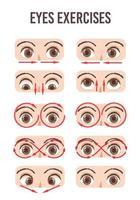 ensemble d'exercice pour les yeux. mouvement pour la relaxation des yeux. globe oculaire, cils et sourcils. vecteur