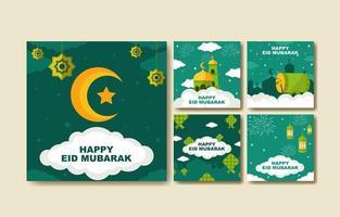 eid mubarak publication sur les réseaux sociaux vecteur