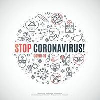 composition de cercle avec des icônes de ligne et du texte arrêtent le coronavirus. concept de prévention covid 19. vecteur