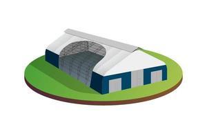auvent bâche tente hangar d'entrepôt de bâtiment industriel temporaire. construction de grange de hall d'exposition commerciale. produits de distribution de production en usine ou concept de stockage. illustration vectorielle