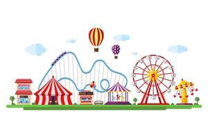 parc d'attractions avec cirque, carrousels, montagnes russes et attractions. amusement et paysage de thème de carnaval. grande roue et manège festival vector illustration isolé