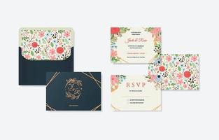 bel ensemble de conception rsvp de mariage vecteur