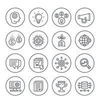Ensemble d'icônes de ligne de démarrage, processus créatif, idée, capital initial, commerce électronique, croissance de projet et analyse vecteur