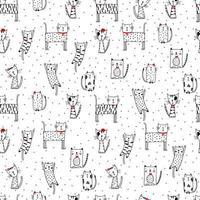 modèle drôle sans soudure avec des chats de griffonnage. illustration de chaton mignon dans le style de croquis. fond d'animaux de dessin animé. chats de griffonnage. impression pour tissu, papier peint, papier d'emballage, textile, literie, impression de t-shirt.