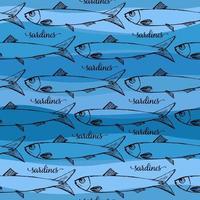 modèle sans couture de vecteur de sardines portugaises sur fond bleu stripp. image amusante à imprimer sur des textiles, des cartes, des publicités, des t-shirts.