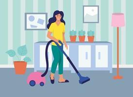 une jeune femme aspire la maison. le concept de la vie quotidienne, des loisirs quotidiens et des activités professionnelles. illustration vectorielle de dessin animé plat. vecteur