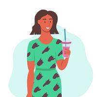 une jeune femme boit un smoothie, du jus de fruits frais, un cocktail. le concept d'une bonne nutrition, d'un mode de vie sain. illustration de dessin animé plat.