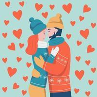 carte de la Saint-Valentin. couple amoureux étreindre. un homme à la barbe rousse et une femme aux cheveux noirs rient et se regardent. illustration vectorielle plane. vecteur