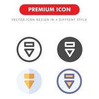pack d'icônes vers le bas isolé sur fond blanc. pour la conception de votre site Web, logo, application, interface utilisateur. illustration graphique vectorielle et trait modifiable. eps 10. vecteur