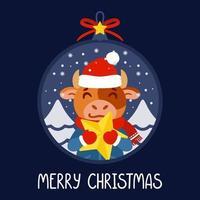 boule de Noël avec l'image du taureau tenant une étoile jaune. le symbole du nouvel an chinois 2021. carte de voeux avec boeuf pour le nouvel an et noël. illustration vectorielle. vecteur