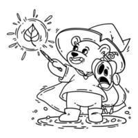 ours magicien en chapeau de sorcière, imperméable et bottes, câlins citrouille d'halloween choqué. le sorcier jette un sort avec une baguette magique. illustration vectorielle isolée sur fond blanc pour cahier de coloriage. contour. vecteur