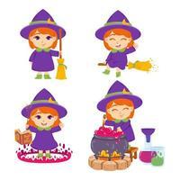 mignonne petite sorcière rousse avec balai, chapeau, livre de sorts, baguette magique et pot. la sorcière prépare des potions. ensemble d'éléments pour halloween. illustration vectorielle isolée sur fond blanc. vecteur