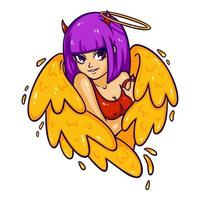 belle femme avec des ailes, des cornes et des nimbus. ange et démon, bien et mal. succube attrayant dans un débardeur. illustration vectorielle moderne colorée pour les impressions de vêtements, les dessins de tatouage, les cartes de voeux. vecteur
