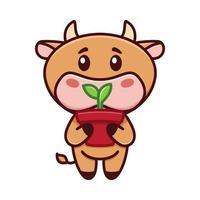 mignon petit taureau tient un pot de germes. la vache jardine. illustration vectorielle. logo drôle. jolie image enfantine avec petit taureau, vache, taureau, personnage de veau. symbole de 2021. vecteur