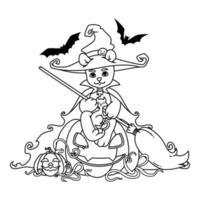 ours en peluche dans un chapeau de sorcière et un manteau avec un balai dans ses mains est assis sur une citrouille d'halloween avec un chat noir et des chauves-souris. illustration vectorielle isolée sur fond blanc. imprimer pour livre de coloriage et page. vecteur