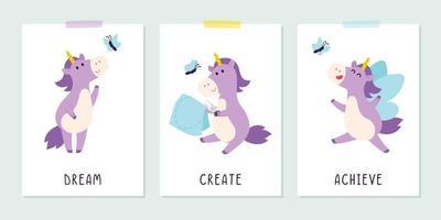 jolie licorne violette avec papillon dans le style enfantin. énonciation inspirante positive pour les affiches et les cartes. rêver, créer, réaliser une bannière, un design d'impression de t-shirt. illustration vectorielle plane. vecteur