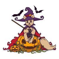 ours en peluche dans un chapeau de sorcière et un manteau avec un balai dans ses mains est assis sur une citrouille d'halloween avec un chat noir et des chauves-souris. illustration vectorielle isolée sur fond blanc. imprimer pour affiche et carte postale. vecteur