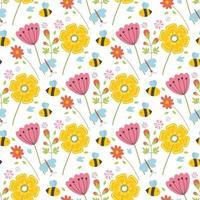 modèle sans couture de printemps de Pâques avec des animaux mignons, des oiseaux, des abeilles, des papillons. vecteur