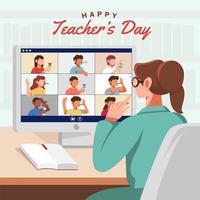 célébration virtuelle de la journée des enseignants vecteur