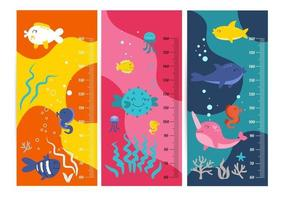 tableau de hauteur des enfants. illustration vectorielle isolée des animaux de dessin animé. jolies mesures d'échelle pour les enfants grandissent. mètre de mesure de croissance de bébé. mètre de hauteur des enfants pour la maternelle. vecteur