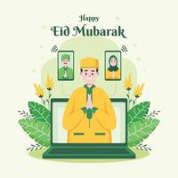 réunion en ligne célébrant l'eid mubarak vecteur