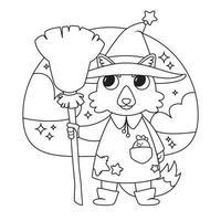 illustration vectorielle mignon halloween avec sorcière loup. vecteur